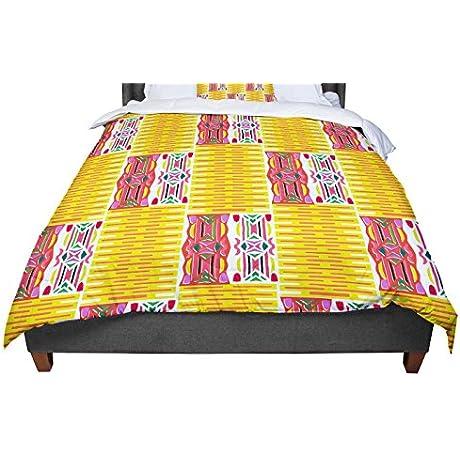 KESS InHouse Miranda Mol Cool Summer Gold Coral Queen Comforter 88 X 88