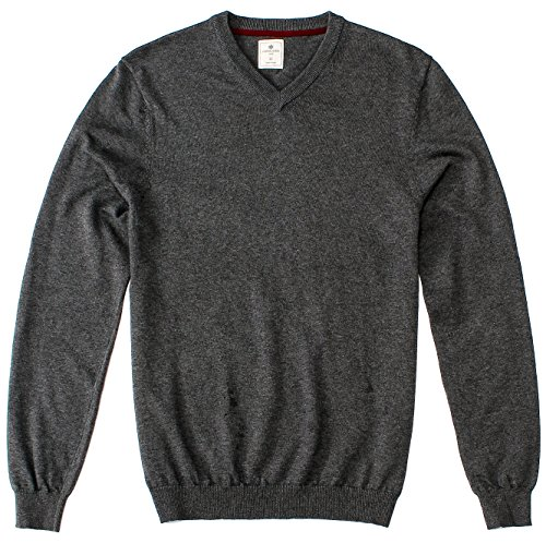 CANALSIDE Solid V Neck Sweater For Men Wool Cotton Knit Japan Quality (Wool Sweater Thick)