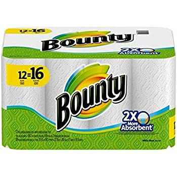 Bounty White Paper Towels Giant Rolls (12=16)