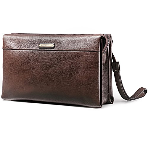 Teemzone Mens Genuine Leather Clutch Purse Bag RFID Blocking Handbag Checkbook Organizer Long Wallet Card Case with Wristlets and Zipper