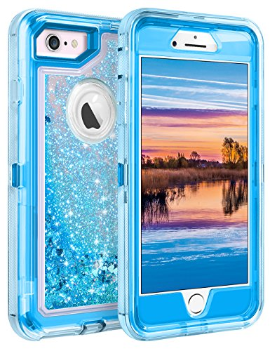Coolden Case for iPhone 6S Case Protective Glitter Case for Women Girls Cute Floating Liquid 3D Quicksand Heavy Duty Hard Shell Shockproof TPU Case for iPhone 6 6S 7 8 4.7 Inches, Blue