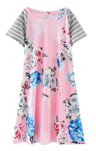 COONITA Girls Kids Pink Floral Print A-line Short Sleeve Knee Length T-Shirt Dresses,Size 12,Pink