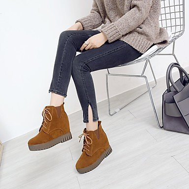 Bout Plat Marron Hiver Cuir Noir Bottes Talon rond Automne Confort Beige Chaussures beige Nubuck Femme Lacet Pour DESY qfaFwva