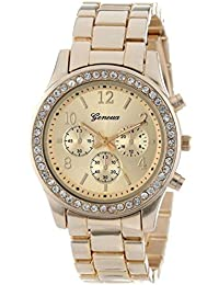 Womens Quartz Watch,COOKI Unique Analog Fashion Clearance Lady Watches Female watches on Sale Casual Wrist Watches for Women,Round Dial Case Comfortable Metal Watch-H06 (Gold)