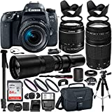 Canon EOS 77D DSLR Camera with 18-55mm Lens, 75-300mm Lenses (1892C016) & 500mm Preset Lens with 2x adapter(1000) & Professional Accessory Bundle - Includes: SanDisk Ultra 64GB SDHC Memory Card & MORE