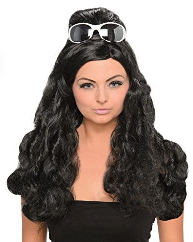Black Bouffant Wig - 60s Style Housewife Wig with Beehive (Poof Wig)