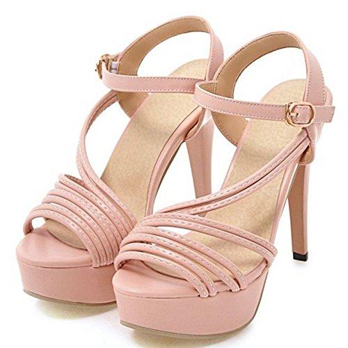 RAZAMAZA Mjuer Moda Peep Toe Tac¨®n De Aguja Sandalias Plataforma Fiesta Zapatos Rosa