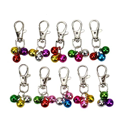 JETEHO 10 Sets Bell Pendants Lobster Clasp Bell Ornament for Keychain Pet Dog Cat Necklace Collar Decoration,Assorted Color ()