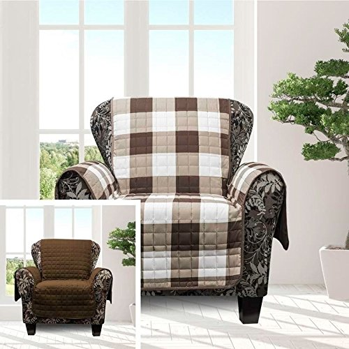 MN 1 Piece Chocolate Brown Plaid Chair Protector, Hunting Themed Furniture Protection Couch Cabin House Pattern Checked Tartan Pets Animals Covering Soft Lodging Buffalo Checkered Covers, Polyester