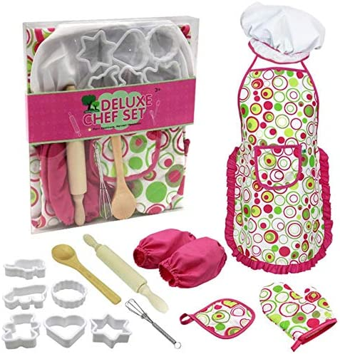 renzhen 15 Stück/Set Backgeschirr-Sets für Kinder Kochset Mädchen Kochspiel Backset Mit Kochmütze Schürze Ofenhandschuh Handmixer, Multi