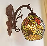Tiffany Style Grapes 1-Light Wall Lamp Vintage Pastoral Handmade Stained Glass Wall Light Sconce Fixture for Bedroom Hallway Living Room