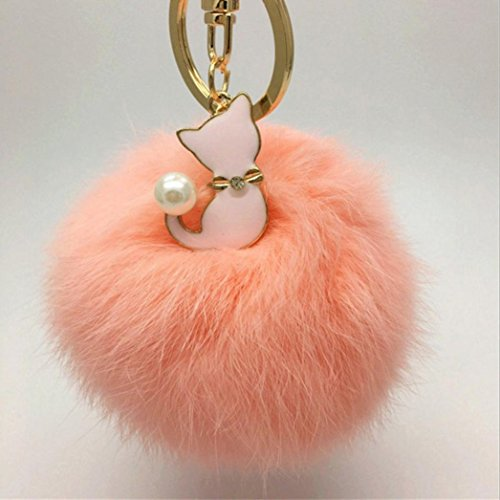 Kingspinner Cat Pear Rabbit Fur Ball Pom Pom Key Chain Keychain with Plush for Car Key Ring or Handbag Bag Decoration - Collection Key Chain Favors
