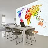 colorful Map Of The World Educational Wall Mural Travel Photo Wallpaper available in 8 Sizes Gigantic Digital
