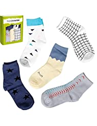 Bundle Monster 5pr Fashionable Young Gentlemans Assorted Socks - Ages 3 to 6