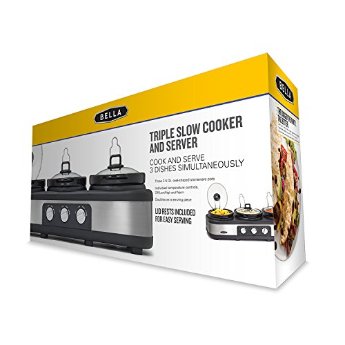 BELLA Triple Slow Cooker and Buffet Server, 3 x1.5 QT Manual Stainless Steel by BELLA (Image #5)