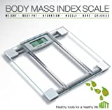 HUTT Products SlimFit 6 in 1 Premium BMI Glass Scale w/ ''Step-On'' Technology Large LCD 330 lb Capacity 4 Point Pressure System Memory Bank