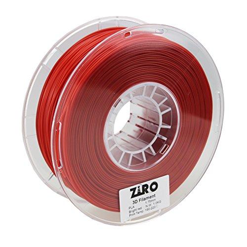 ZIRO 3D Printer Filament PLA 1.75 1KG(2.2lbs), Dimensional Accuracy +/- 0.05mm, Bright Red