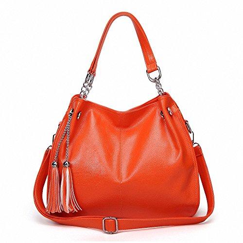 AILEESE - Bolso de asas para mujer rosa granate Medium Orange 01