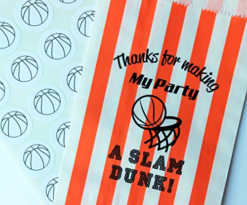 Basketball Party Treat Bags with Stickers, Thanks for Making My Party A SLAM Dunk!, Orange and White Stripe Bags, Set of 48 Bags and 48 Stickers