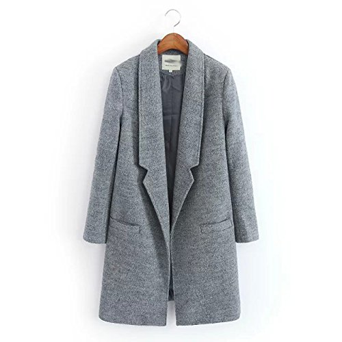 DYF sleeve Solid No Women Windbreaker Long Pocket Lapel Color Grey Coat buckle rwrq1