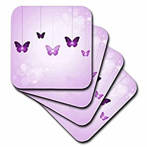 3dRose Cute Dark and Light Purple Dangling Butterflies - Ceramic Tile Coasters, set of 4 (cst_78670_3)