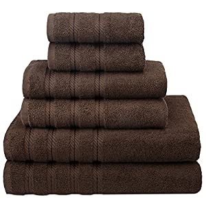 Premium, Luxury Hotel & Spa, 6 Piece Towel Set, Turkish Towels 100% Cotton for Maximum Softness and Absorbency by American Soft Linen, [Worth $72.95] (Chocolate Brown)