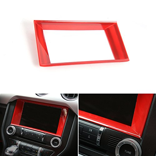 Car Center Console Multimedia Control Panel 8-inch Screen Frame Cover Decoration Ring Trim for Ford Mustang 2015 2016 - Center Control Media