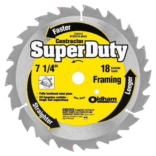 OLDHAM 725C418 Contractor 7-1/4-Inch 18 Tooth ATB Decking Saw Blade with 5/8-Inch and Diamond Knockout Arbor