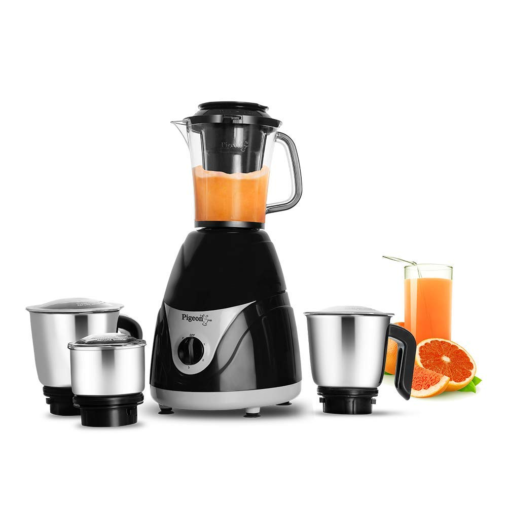 Pigeon by Stovekraft Eva 750 Watt Juicer Mixer Grinder with 4 Stainless Steel Jars for Juice, Dry Grinding, Wet Grinding and Making Chutney