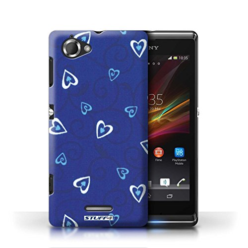 Etui / Coque pour Sony Xperia L/C2105 / Bleu/Turquoise conception / Collection de Coeur Vigne Motif