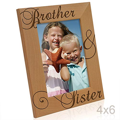 Brother & Sister Engraved Natural Wood Picture