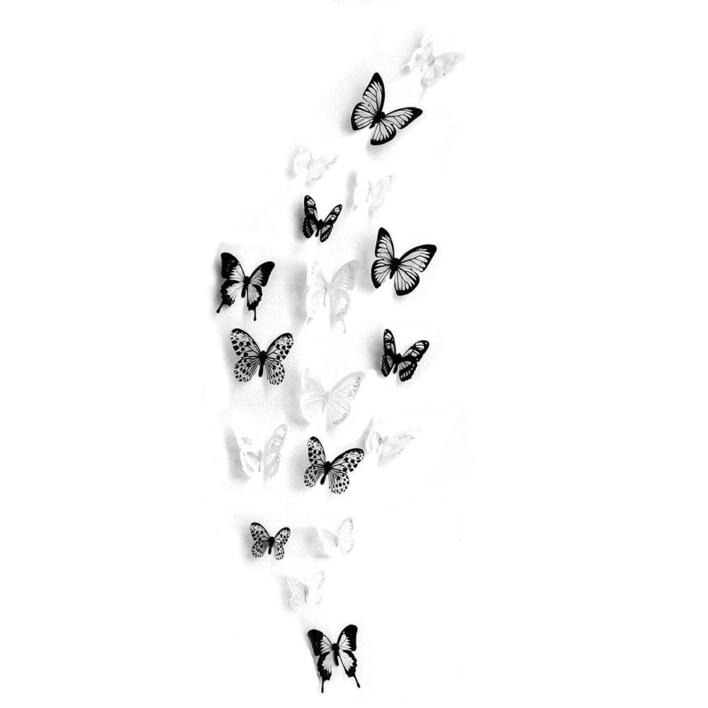 Interlink-UK 18 Stück 3D Schmetterling Wandtattoo DIY Wandstickers ...