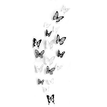 18 Stück 3D Schmetterling Wandtattoo DIY Wandstickers Wanddeko  Wandaufkleber Weiß Und Schwarz