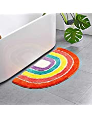 Cute Doormat for Kids - Microfiber Absorbent Bathroom Mats - Front Door Mat Carpet Floor Rug, Rainbow Shape