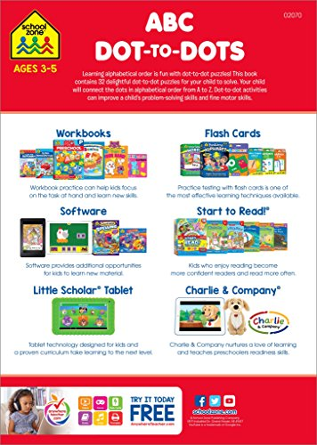 SCHOOL ZONE - ABC Dot-to-Dots Workbook, Ages 3 to 5, Get Ready!™, Alphabet, Alphabetical Order, Letters, Sequencing, Fine Motor Skills, Illustrations and More! by School Zone Publishing (Image #1)