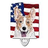 Caroline's Treasures Cardigan Corgi with American Flag USA Night Light, 6'' x 4'', Multicolor