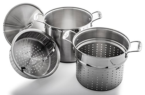 Culina 12 Qt. Multi Pot Cooker 4-Piece Set, Heavy Gauge 18/10 Stainless Steel