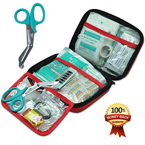 First Aid Kit,210 Pieces Survival Kit Bag - Includes Instant Cold Pack,Thermometer,Scissors,Bandages,Whistle for Travel, Home, Office, Vehicle,Camping, Workplace & Outdoor (Red) by General Medi (Image #2)