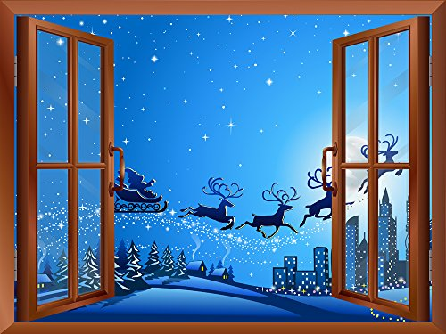 Cartoon Santa Claus and Reindeers Flying with Stars at Night Peel and Stick Removable Window View Wall Sticker Wall Mural