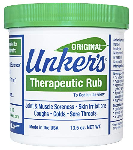 (Unkers Therapeutic Rub for Joint Pain, Sore Muscles, Burn Cream, or Calm Your Cough 13.5 ounces)