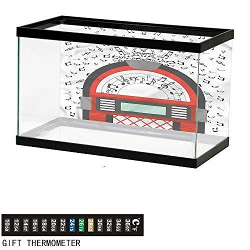 - bybyhome Fish Tank Backdrop Jukebox,Antique Old Radio Box,Aquarium Background,24