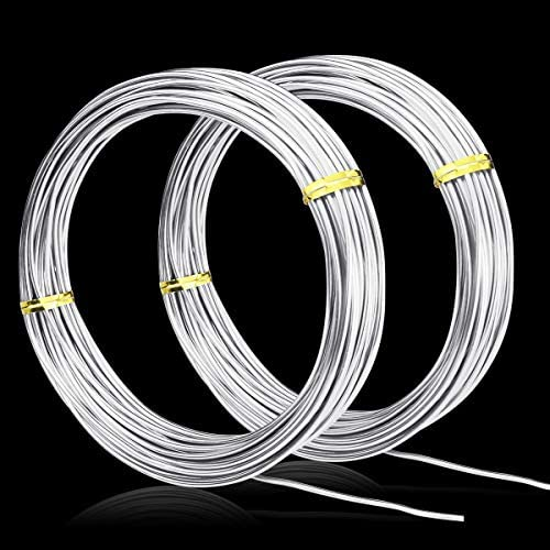 65.6 Feet FERCAISH 2 Pack Aluminum Craft Wire,1.5MM Thickness Bendable Metal Craft Wire for Making Dolls Skeleton DIY Manual Arts and Crafts