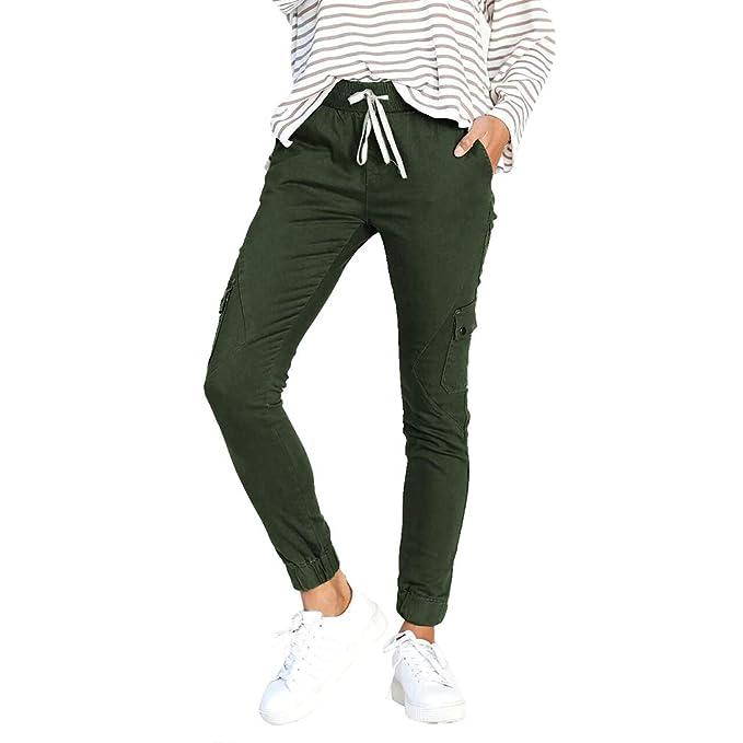 9194068b9b Multibolsillo Largo Pantalones Verde Color Cintura Urbano Slim Boton Lápiz  Alta Sólido Pantalones De Mujer Ocio ...