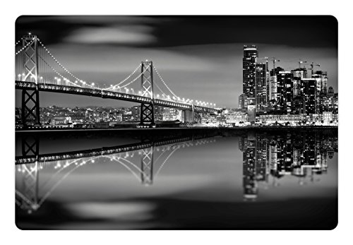 Black And White Pet Mats For Food And Water By Ambesonne  San Francisco Bay Bridge Metropolis Panorama View With Skyscrapers  Rectangle Non Slip Rubber Mat For Dogs And Cats  Black Grey White