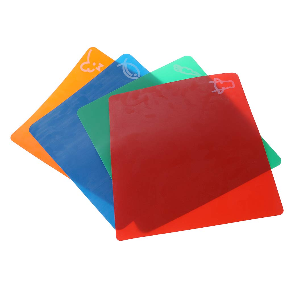 Tebatu 4 Pieces Plastic Chopping Board Mats, Non-Slip Rectangle Cutting Board Flexible Mats