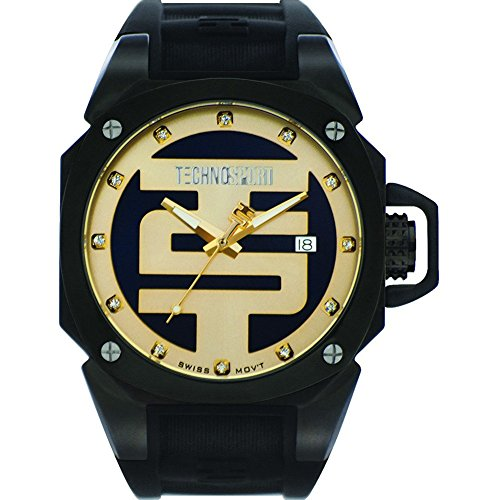 Technosport TS-102-3 Unisex Swiss Black Stainless Steel Case Watch Yellow Gold Dial Black Silicone Strap