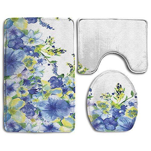 Guiping Motley Floret Motifs With Splash Anemone Iris Revival Bathroom Rug Mats Set 3 Piece,Funny Bathroom Rugs Graphic Bathroom Sets,Anti-skid Toilet Mat Set (Rug Anemone)