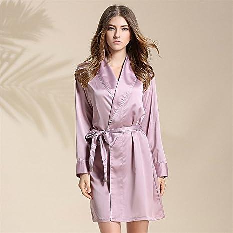 Primavera Verano regalo para parejas, albornoz batas de seda verano femenino Vestido de manga larga