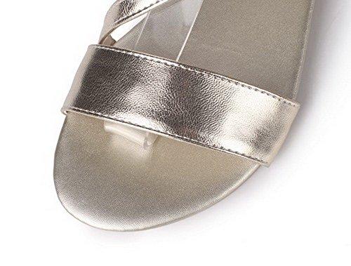 AalarDom Cuir PU Talon TSFLG005177 Ouverture Couleur Sandales à d'orteil Doré Bas Unie Femme wwZArqp