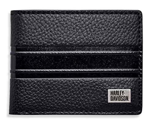 Harley-Davidson Men's Embossed Stripe Bi-Fold Leather Wallet 99433-18VM (Mens Harley Davidson Wallets)
